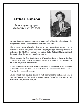 Althea Gibson Hero Biography