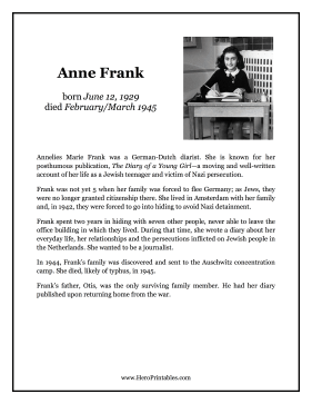 Anne Frank Hero Biography