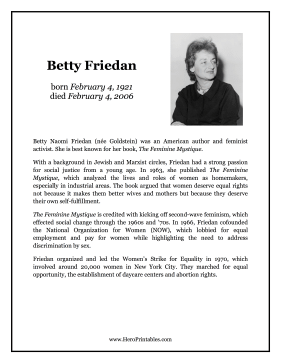 Betty Friedan Hero Biography