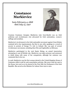 Constance Markievicz Hero Biography