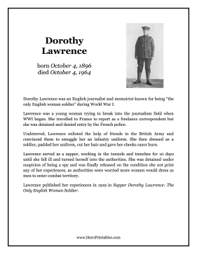 Dorothy Lawrence Hero Biography
