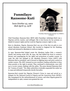 Funmilayo Ransome-Kuti Hero Biography
