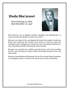 Huda Shaarawi Hero Biography