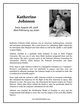 Katherine Johnson Hero Biography