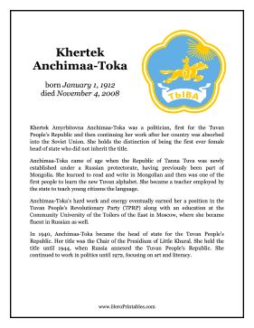 Khertek Anchimaa-Toka Hero Biography