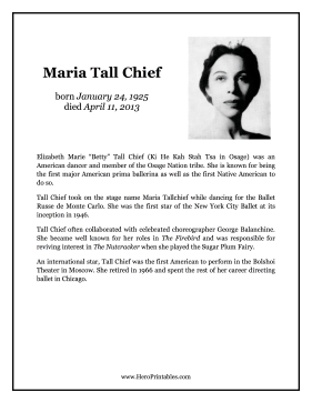 Maria Tall Chief Hero Biography