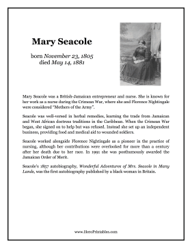 Mary Seacole Hero Biography