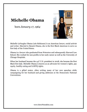Michelle Obama Hero Biography