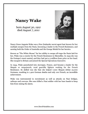 Nancy Wake Hero Biography