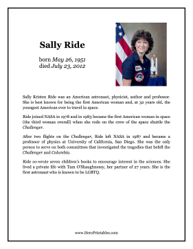 Sally Ride Hero Biography