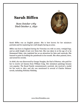 Sarah Biffen Hero Biography