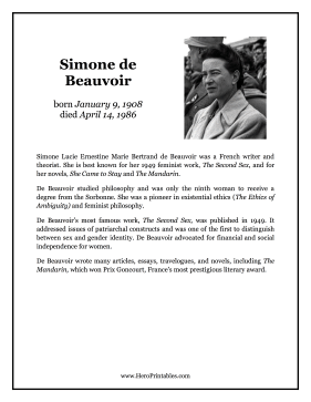 Simone de Beauvoir Hero Biography