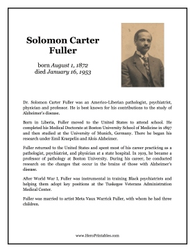 Solomon Carter Fuller Hero Biography